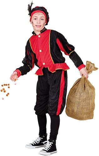 Zwart met Rood Kinderkostuum Zwarte Piet