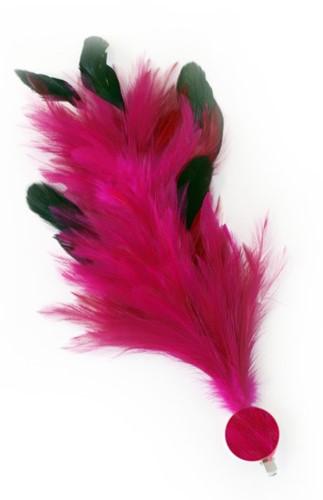 Pink Buigbare Verenpluim met Speld en Clip (30 cm)