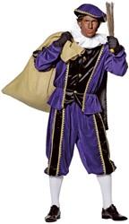 Kostuum Zwarte Piet Paars Luxe (met cape)