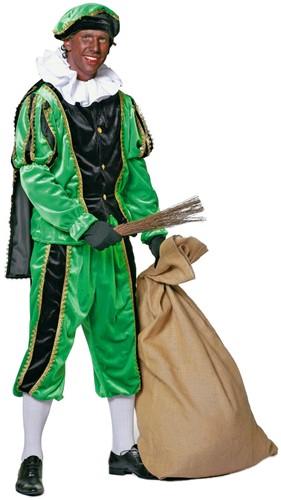 Kostuum Zwarte Piet Groen Luxe (met cape)