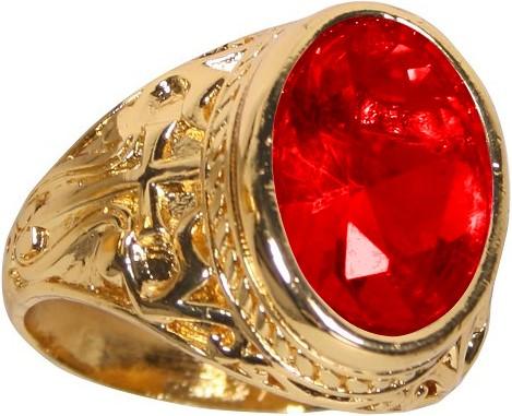 Ring Sinterklaas Goud/Rood Luxe