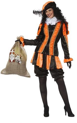 Dames Pietenpak Pepita Oranje-Zwart