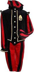 Pietenkostuum Pamplona Fluweel Katoen Zwart/Rood
