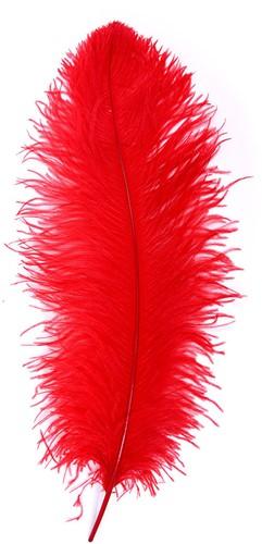 Baret Struisvogelveer Rood 60-70cm-2