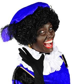 Zwarte Piet Baret Blauw Velours (met veren)