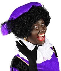 Zwarte Piet Baret Paars Velours (met veren)
