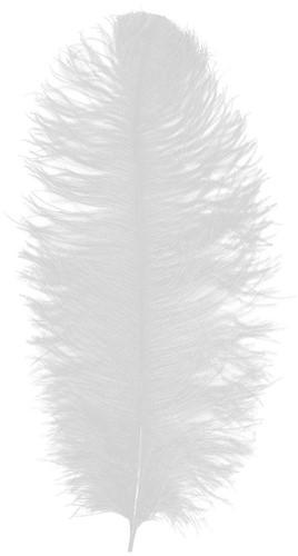Baret Struisvogelveer Wit 60-70cm