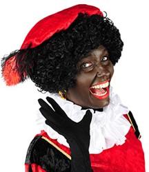 Zwarte Piet Baret Rood Velours (met veren)