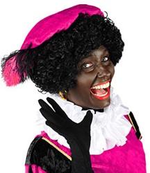 Zwarte Piet Baret Pink Velours (met veren)