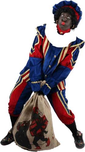 Zwarte Piet Kostuum Blauw/Rood Fluweel Wyber