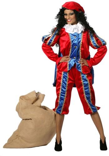 Zwarte Piet Dame Blauw/Rood met Cape Luxe