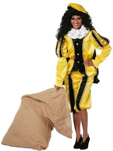 Zwarte Piet Dameskostuum Geel Luxe (met cape)