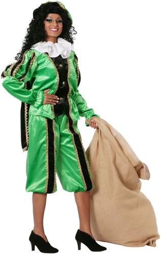 Zwarte Piet Dameskostuum Groen Luxe (met cape)